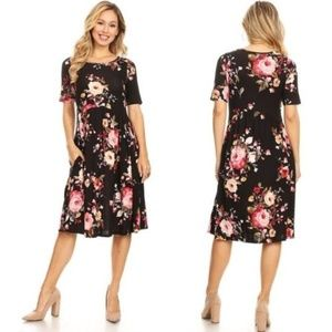 NEW Kate Floral Midi Dress - Black